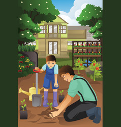 Father and son planting in the garden together vector