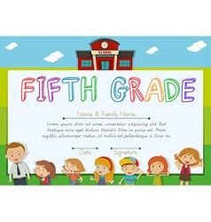 Fifth grade diploma with teachers and kids vector