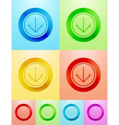 flat circle button design vector image