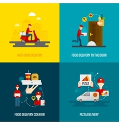 Food delivery concept icons set vector image