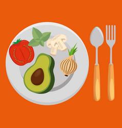Fresh vegetables salad menu vector