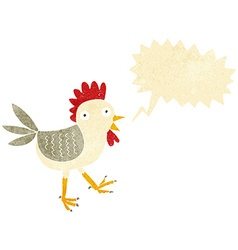 funny cartoon chicken with speech bubble vector image