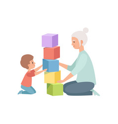 granny and her little grandson sitting on the vector image