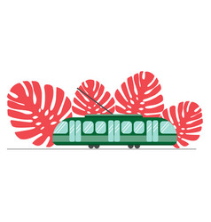 Green tram on a background coral colored vector