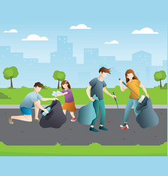 group people cleaning up city park vector image