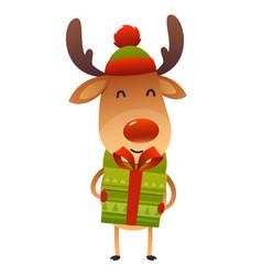 happy cute cartoon reindeer with gift present on vector image