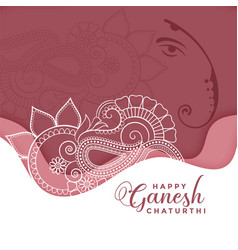 Happy ganesh chaturthi background in eithnic vector