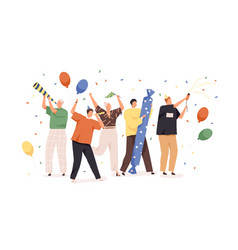 happy people celebrating birthday with confetti vector image