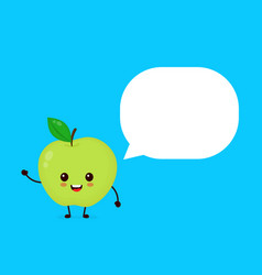 happy smilling cute apple with speech bubble vector image