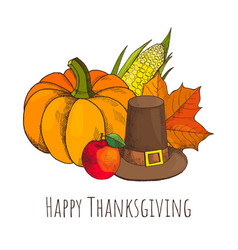 Happy thanksgiving day poster with hat vector