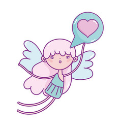 happy valentines day cupid with love heart speech vector image