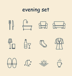 household evening icons set with sunset dinner vector image