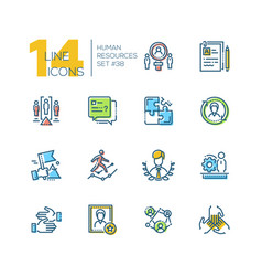 human resources - set line design style icons vector image