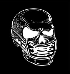 human skull in a medical mask health protection vector image