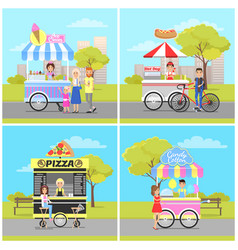 ice cream hot dog pizza and candy cotton vans vector image