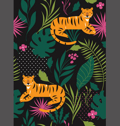 jungle tiger seamless pattern vector image