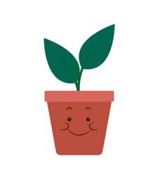 kawaii pot plant natural cartoon vector image