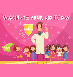 Kids vaccination poster vector