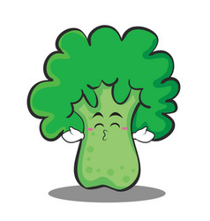 Kissing closed eyes broccoli chracter cartoon vector
