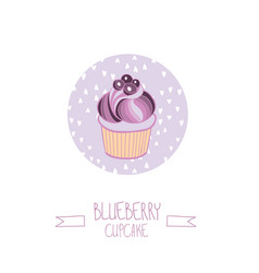 lovely beautiful yummy blueberry cupcake vector image
