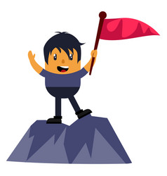 man on mountain with flag on white background vector image