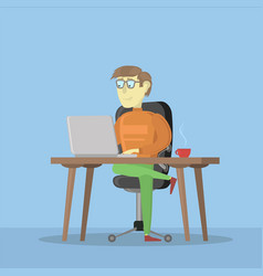 man working on a laptop computer male business vector image