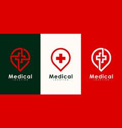medical location logo design vector image