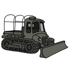 Military tractor with a ploughshare vector