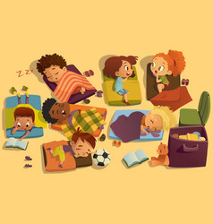 nap time in the kindergarten group of multiracial vector image