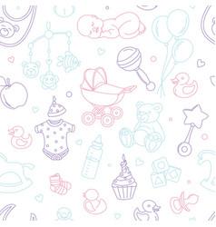 Newborn baby shower nursery seamless pattern thin vector