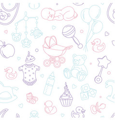 newborn bashower nursery seamless pattern thin vector image