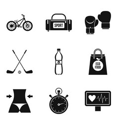Obesity icons set simple style vector