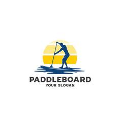 ocean paddleboard silhouette logo vector image