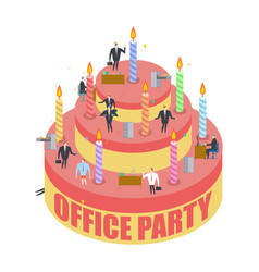 office party cake and managers holiday at work vector image