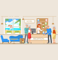 old people accommodation in hotel vector image