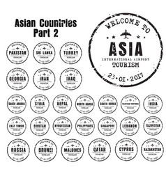 Old stampst with name asian countries vector