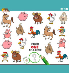 One a kind task for children with farm animals vector
