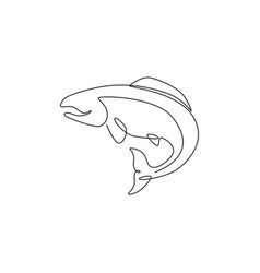 one continuous line drawing big salmon vector image