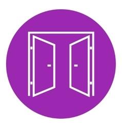 Open doors line icon vector