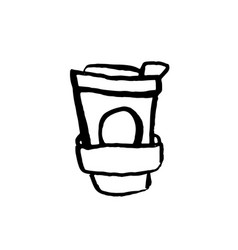 paper coffee cup icon coffee to go grunge ink vector image