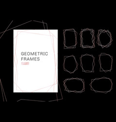 pink gold geometric polyhedron frames collection vector image