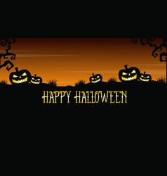 Pumpkin on the hill background halloween vector