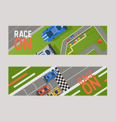 racing track curve road car sport track banner vector image