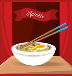 Ramen japanese dish menu restaurant vector