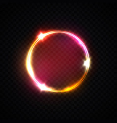 red pink yellow neon ring light circle background vector image