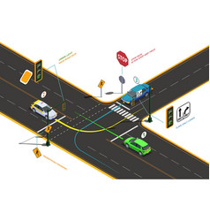 Road intersection isometric concept vector