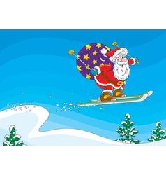 Santa Claus ski jumper vector image