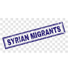 Scratched syrian migrants rectangle stamp vector