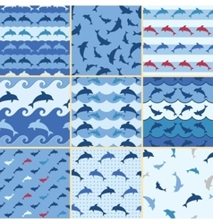 Sea dolphin pattern vector