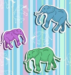 Seamless elephant pattern on stripped wallpaper vector